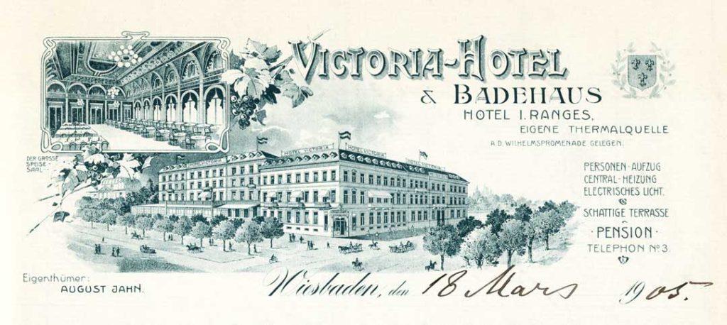 """Briefkopf des """"Victoria-Hotel"""" (Stadtarchiv Wiesbaden)"""